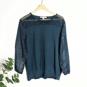 LOFT Wide Lace Sleeve Pullover Sweater